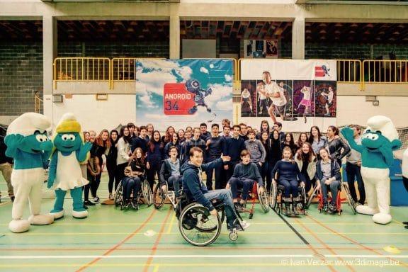 mise en situation PMR et sensibilisation avec l'école Berlaymont et l'équipe d'Androïd34 - crédit photo: Ivan Verzar