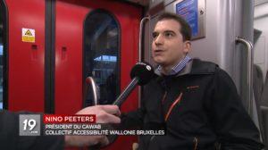 image du JT de la RTBF sur l'accessibilité des nouvelles voitures M7 de la SNCB pour les PMR